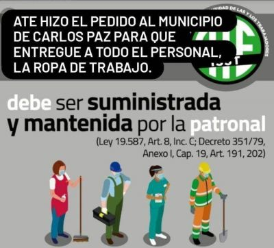 ATE reclamó al intendente que cumpla con la ley y entregue ropa de trabajo a todos los empleados municipales