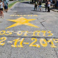 Pintaron la primera estrella amarilla en Merlo en homenaje a Malena Galatola, víctima de un asesino al volante
