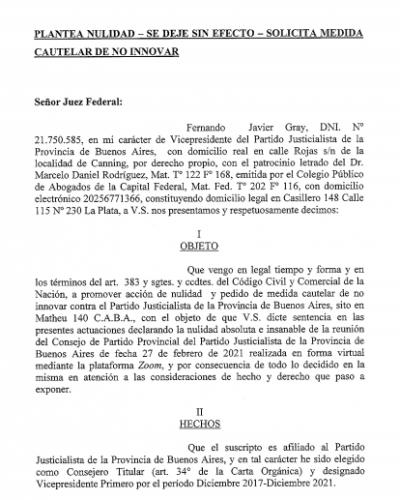 Fernando Gray presentó una demanda judicial para impugnar el Consejo del PJ convocado de manera irregular