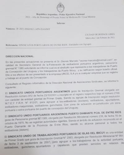 Principio de acuerdo en el Puerto Concepción del Uruguay y levantamiento del paro del SUPA