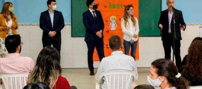 Los ministros Ferraresi y Trotta, junto a la directora de Educación, Agustina Vila, inauguraron obras en la Primaria N° 15 de Sarandí