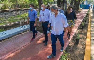 Juan Andreotti recorrió con autoridades de ADIF la obra del nuevo paseo aeróbico entre Virreyes y Victoria