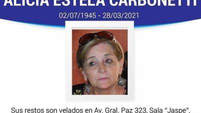 Carlos Paz: Murió la dirigente justicialista Alicia Carbonetti