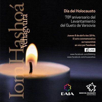 Día del Holocausto: La DAIA y el Museo del Holocausto de Buenos Aires invitan al acto central