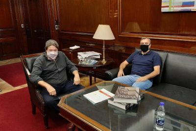 Importante reunión de Rodolfo Aguiar con Claudio Lozano en la sede del Banco Nación