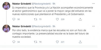Después de las nuevas restricciones anunciadas por el presidente, Grindetti pidió ayuda económica del Estado para los gastronómicos