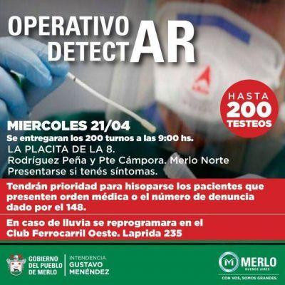 Operativo DetectAR, este miércoles 21 en Merlo Norte