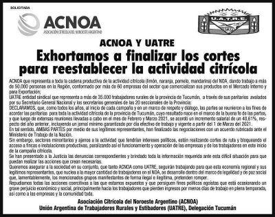 Tucumán.Los empresarios del citrus y la Uatre se unen contra el reclamo de los cosecheros