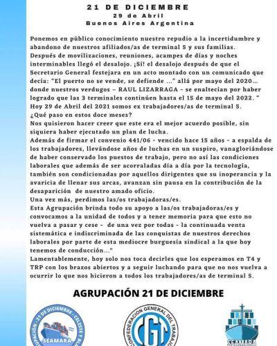 La Agrupación 21 de Diciembre apuntó contra la dirección de SEAMARA