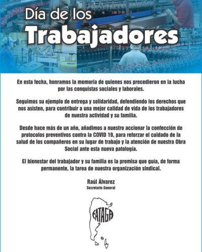 En el Día de los Trabajadores FATAGA saluda a sus afiliados