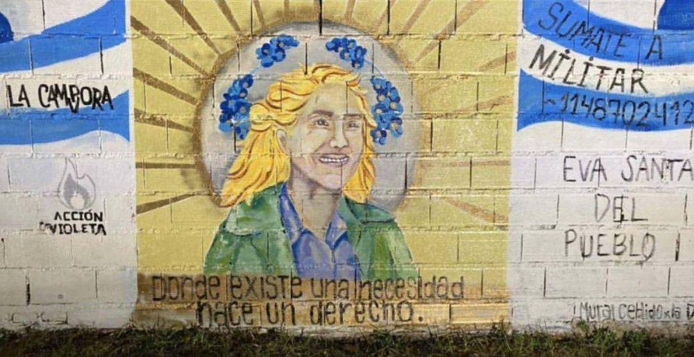 Insólito: Un extraño mural de Evita que hizo La Cámpora en Quilmes se hizo viral en las redes sociales