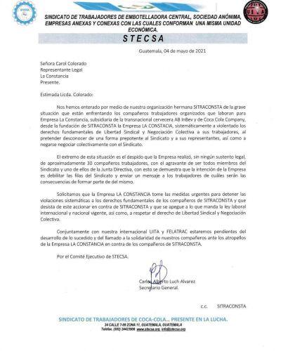 Stecsa se solidariza con la lucha de SITRACONSTA