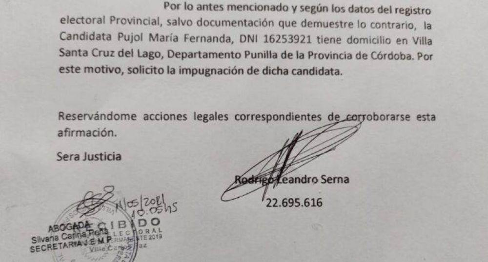 Defensoría del Pueblo: Serna impugnó la candidatura de Pujol por no tener domicilio en Villa Carlos Paz