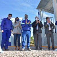 Malena Galmarini, Andrés Watson y José Luis Lingeri inauguraron nuevas instalaciones del Rebombeo El Cruce en Florencio Varela