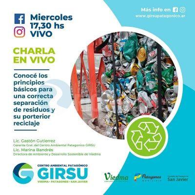 Charla virtual del GIRSU sobre separación de residuos en origen y reciclado Viedma