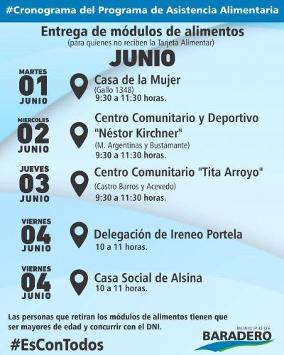 #EsConTodos | Cronograma de entrega de módulos de alimentos de junio