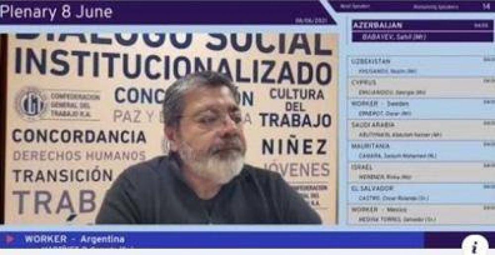 """Gerardo Martínez ante la OIT: """"debemos discutir un nuevo contrato social que garantice el desarrollo económico con justicia social"""""""