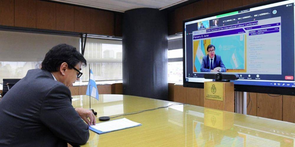 Moroni defendió ante la OIT la política oficial para mitigar los efectos recesivos de la pandemia