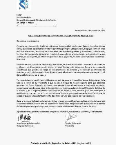 Prepagas: la carta a Massa y a Kirchner