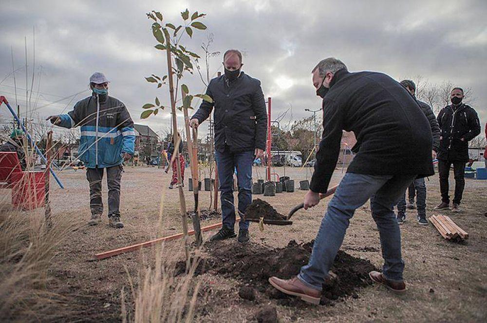 Día del Árbol: Sabbatella e Insaurralde plantaron especies nativas en Villa Fiorito