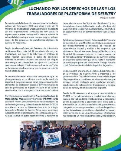 Gremio internacional del transporte respaldó a Kicillof por sus multas a aplicaciones de delivery