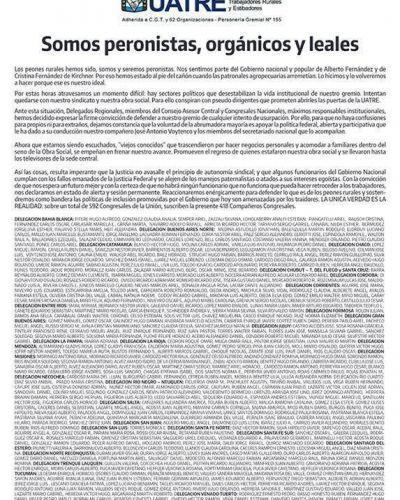 """Representantes de todo el país defienden a la UATRE """"de cualquier intento de usurpación"""""""