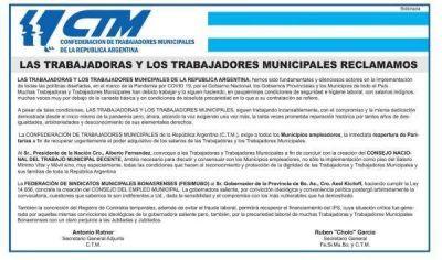 Los municipales presionan por la reapertura de paritarias y le piden a Fernández que garantice que ningún trabajador cobre menos que un Salario Mínimo
