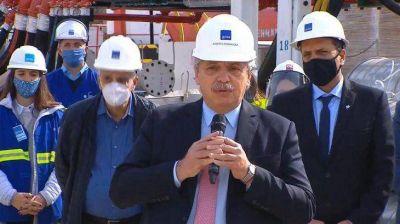 Alberto Fernández inaugura una planta depuradora de AySA en Guernica