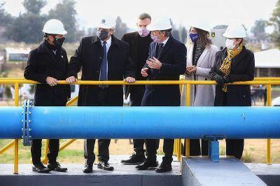 El presidente inauguró una planta depuradora de AySA en el partido bonaerense de Presidente Perón