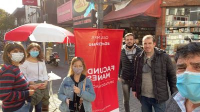 Fuerte presencia de militantes y candidatos de Manes en calles de Quilmes