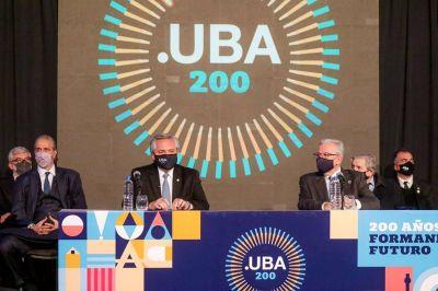 """El presidente, en los 200 años de la UBA: """"Pensar la educación como un bien público nos ha distinguido en el mundo"""""""