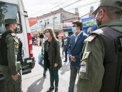 Frederic supervisó con Espinoza un control vehicular en San Justo