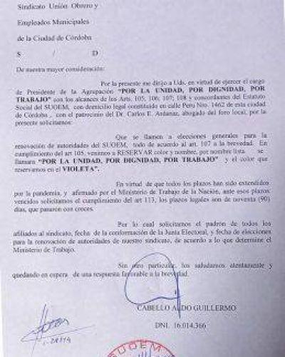 Suoem: con pedido de elecciones, la oposición incomoda a Daniele