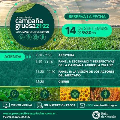 La Bolsa de Cereales realizará el Lanzamiento de Campaña Gruesa 2021/22
