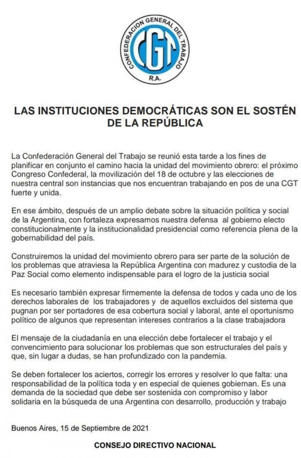 La CGT apoyó al Presidente y ratificó la marcha del 18 de octubre