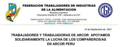Solidaridad con trabajadores y trabajadoras de ARCOR Perú