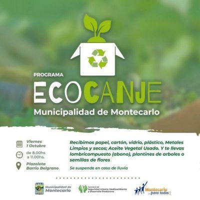 El programa Eco Canje retoma su actividad este viernes en Montecarlo