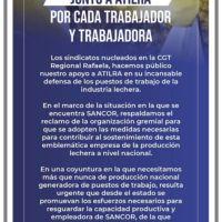 CGT Rafaela envió un contundente mensaje de apoyo a Atilra