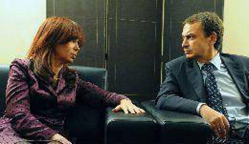 Cristina se reunió con Zapatero y convinieron en buscar un acuerdo comercial entre el Mercosur y la UE
