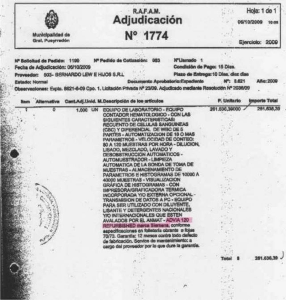 Dueña vende Contador Hematológico, poco uso