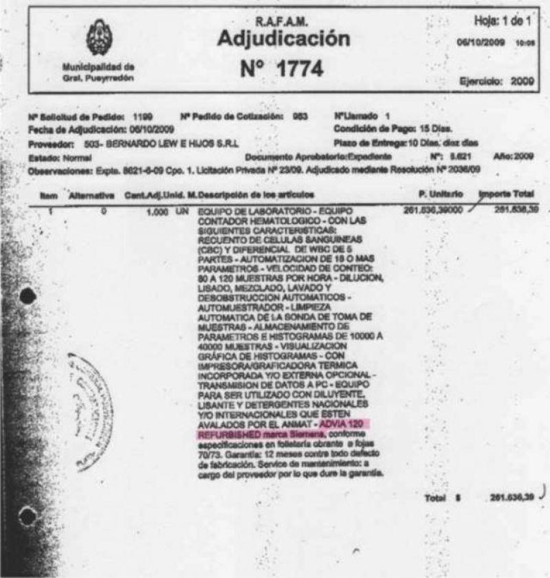 Due�a vende Contador Hematol�gico, poco uso