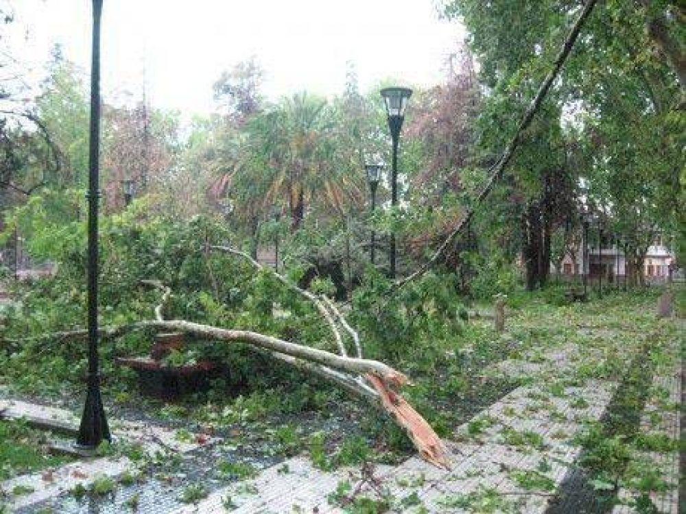 Fuerte tormenta de agua, viento y granizo en San Rafael