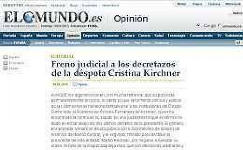 """Por el conflicto en el Banco Central, el diario """"El Mundo"""" califica a Cristina como """"déspota"""""""