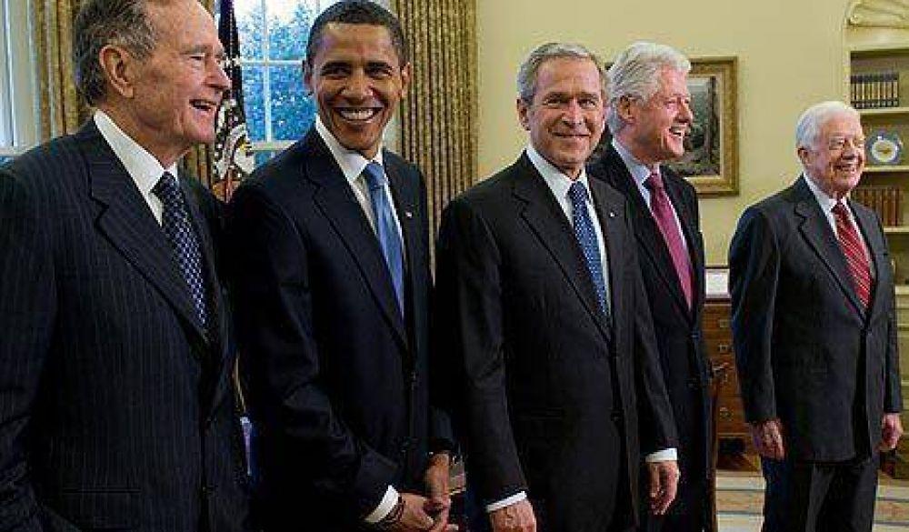 Foto histórica: Bush recibió a Obama y sus predecesores en la presidencia