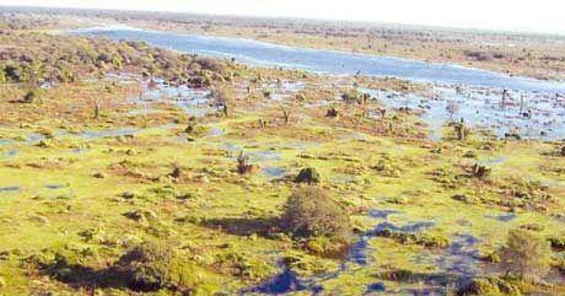 Las aguas del bañado La Estrella ya trasponen el vertedero de la ruta 28