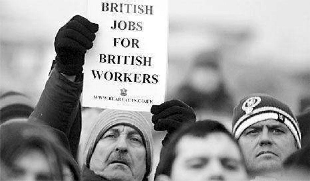 Primera gran huelga xenófoba en Gran Bretaña