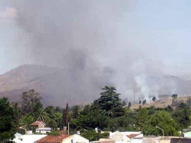 Un bosque de pinos arde en un cerro cercano al club Uncas.