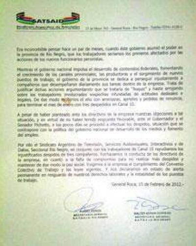 Sindicato de TV desnudó contradicciones de directivos de Canal 10 con política nacional