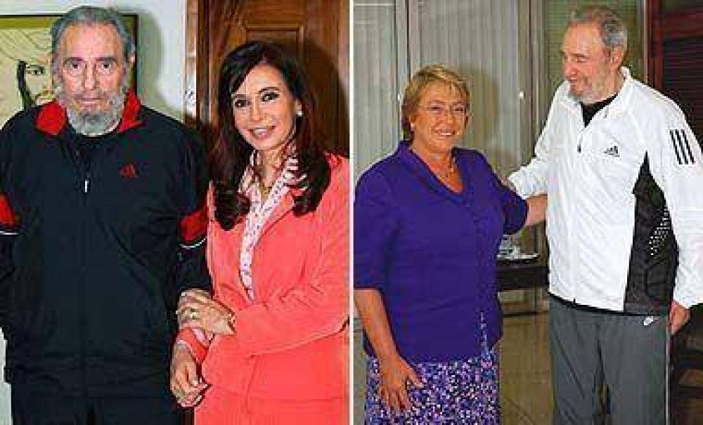 Fidel recibió a presidentas por