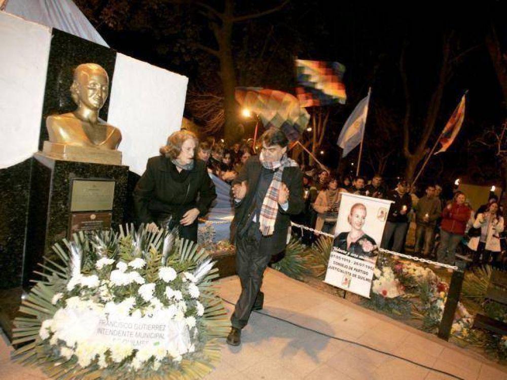 QUILMES: Gutiérrez en el acto en homenaje a Evita